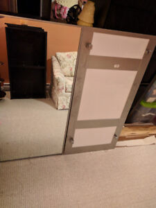 2 Large Brushed Steel Mountable Mirrors (commercial quality)