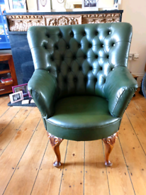 Leather chesterfields curved back chair