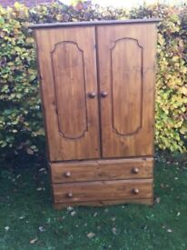 Good solid tall boy wardrobe with 2 large drawers