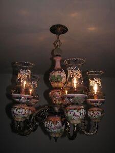 Lampe chandelier Capodimonte en porcelaine italienne 40$