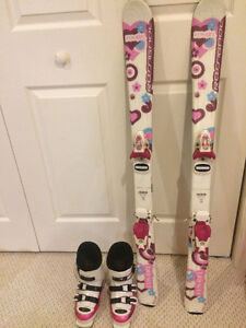 Downhill skis and boots girls