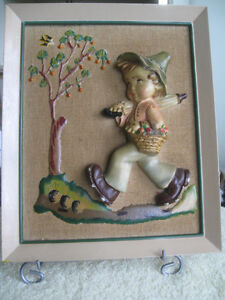 CHARMING OLD VINTAGE FRAMED HAND-PAINTED WALL HANGING from ITALY