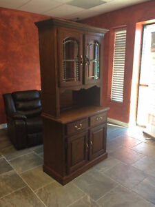 Two piece solid wood hutch