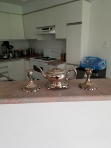 Hamilton Silver Tea Set and Silver Candle Holders
