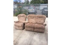 Fabric recliner sofa and chair