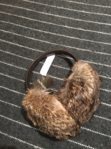 Danier genuine leather and rabbit fur ear muffs - new with tags