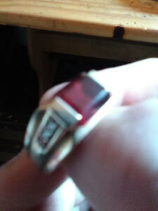 Ring for sale $375 (garnet gem with 6 diamonds ten carrot gold)