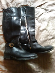 Tory Burch leather zip up boots