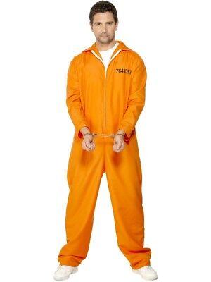 Entflohener Häftling Kostüm Herren Sträfling Gefangener Overall Orange ()