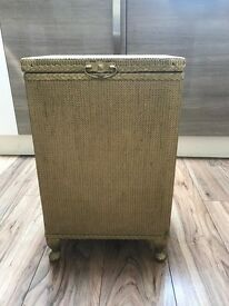 Vintage Lloyd Loom Style Laundry / Linen Basket Storage in Gold