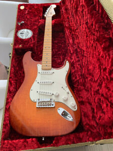 2012 Fender Select Stratocaster HSS - Dark Cherry Sunburst