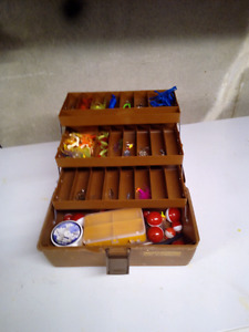 Tackle box with assorted lures and stuff