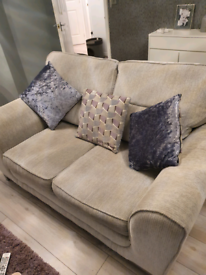 2 seater grey sofa with grey and lilac accent