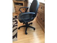 Black leather fully adjustable computer chair