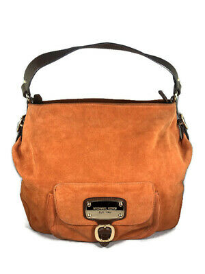 Michael Kors Orange Suede Shoulder Bag with Brown Leather Handle