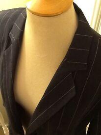 Zara Woman navy white pinstriped jacket size 44 UK16