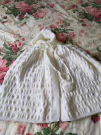 Hand knitted white baby Cape & hood/christening