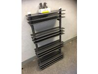 600x1100 designer double flat rail on rail graphite radiator with matching valves