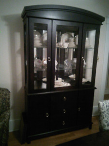 Modern espresso finish china cabinet