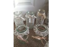 Lot of wedding jars decorated lace ribbon 29 in total centre piece tea light