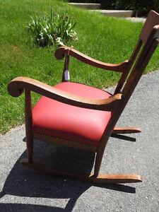 "antique ""tiger"" oak rocker,  new red leather seat Oakville / Halton Region Toronto (GTA) image 4"