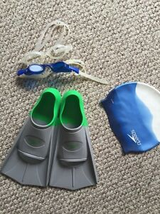 Speedo fins, googles and swim cap