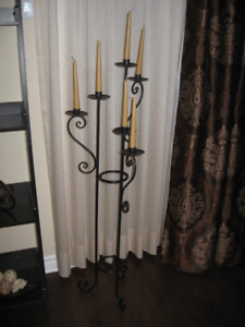 "CANDLE HOLDER WITH THE 6 CANDLES  ( TALL  44"" )"