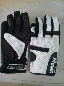 Motorcycle Riding Gloves White Leather with protection