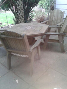 Teak Outdoor Table and Four Chairs