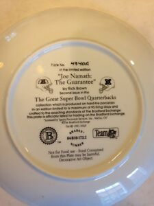 "Joe Namath Collector Plate ""The Guarantee"" Stratford Kitchener Area image 2"