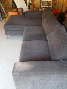 Dark grey, modern couch with chaise lounge Windsor Region Ontario image 3