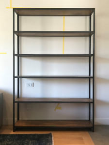 Contemporary custom made wood and steel shelving unit
