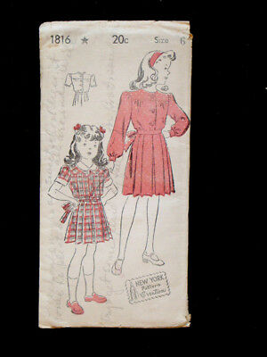 1940's 1950's Vintage NEW YORK #1816 GIRLS DRESS Fashion PATTERN / Size 6
