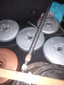 One lot of various weights and bar bells