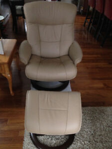 Fjord Leather Reclining Sofa and Matching Chair/Ottoman