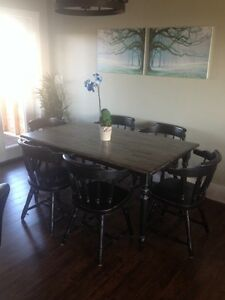 Beautiful 7pc wood kitchen table and chair dining set