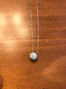 White Gold/Crystal Italian Necklace for Sale Windsor Region Ontario image 2