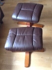 Brown leather foot stools