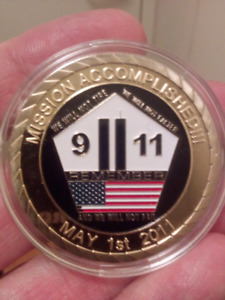 Large 40mm 911 Mission Accomplished Gold Plated Colored Coin.