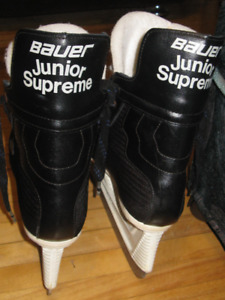 2 pr of Bauer  Hockey Skates and Bauer Elbow Pads