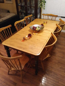 Solid Wood Table and 8 Canadel Chairs