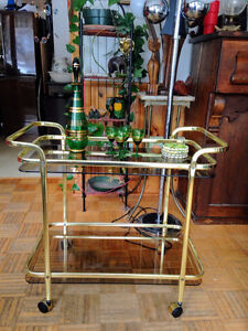 Desserte Vintage Tea Cart Trolley Brass Gold
