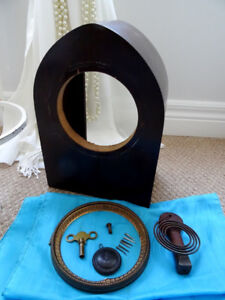 antique GILBERT CLOCK housing & some parts 1896 square nails KEY