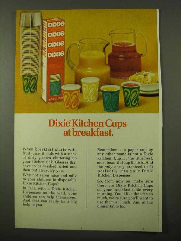 1971 Dixie Kitchen Cups Ad - At Breakfast