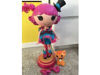Cute Lala Lipsy doll on a stand, makes news & moves etc