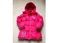 Girls clothes- coat, fleecy onsies age 3-6 (see photos)