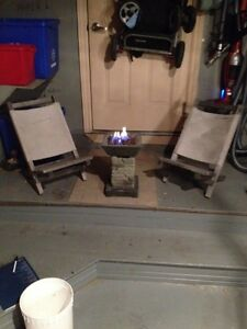 Patio fireplace and chairs