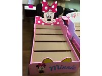 AS NEW EX DISPLAY MINNIE MOUSE TODDLER BED WITH TWO UNDER BED STORAGE DRAWERS RRP £149!!!
