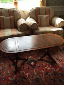 Yew wood leather top table