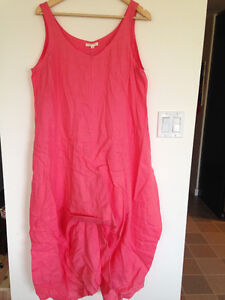 High end coral Eileen Fisher dress with adjustable ties